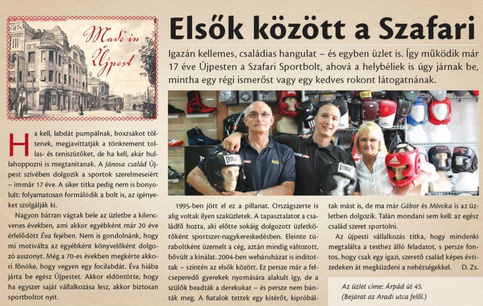 Szafari Sport az újpesti Naplóban